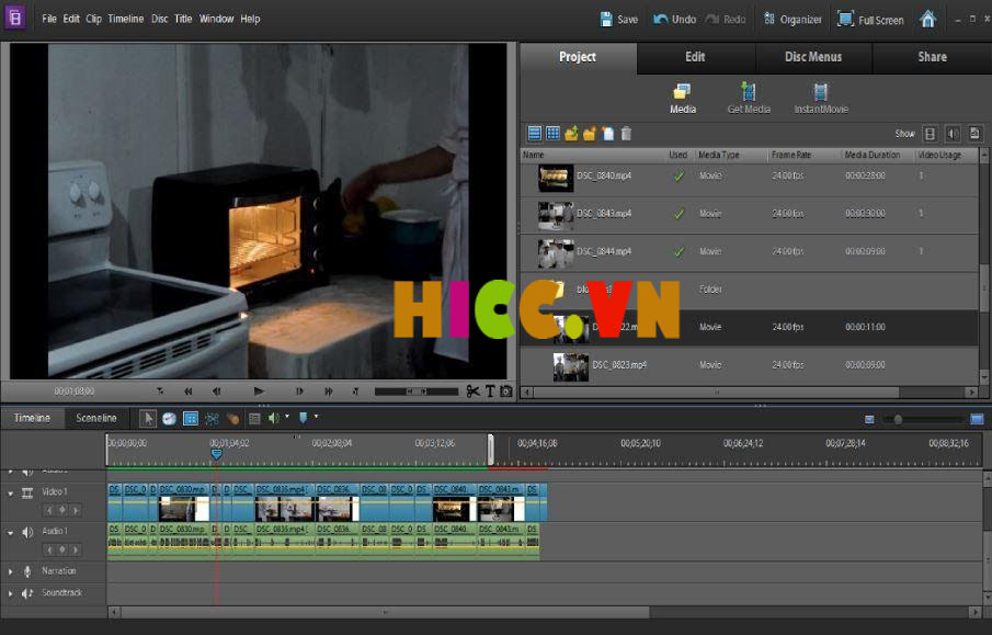 Giao diện phần mềm cắt video youtube Adobe Premiere Elements